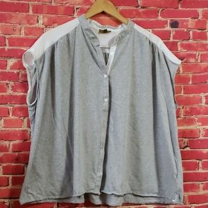 Nicole miller Women's Gray top Blouse L/XL